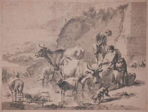 Washerwoman with Child, Cattle, Sheep, and Dog - etching by Nicolaes Pieterszoon Berchem @ 1650
