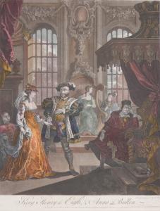 King Henry VIII and Anna Bullen (Boleyn) etching by William Hogarth - reprint @ 1828