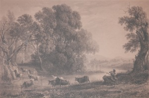 Landscape with Cattle, Evening - engraving by William Forrest after Claude Lorrain