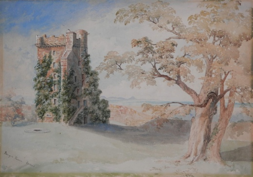 Burgle Tower, Forres - watercolour - early 20th century? - unknown artist